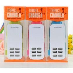 Travel charger 6 USB Ports 2 pin EU 6A 5V - blister